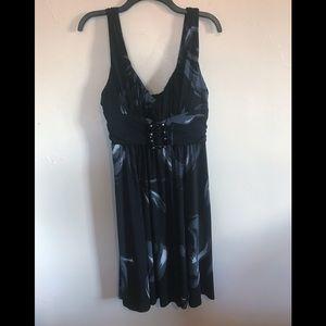 Bisou Bisou Dress in black with waves of blue